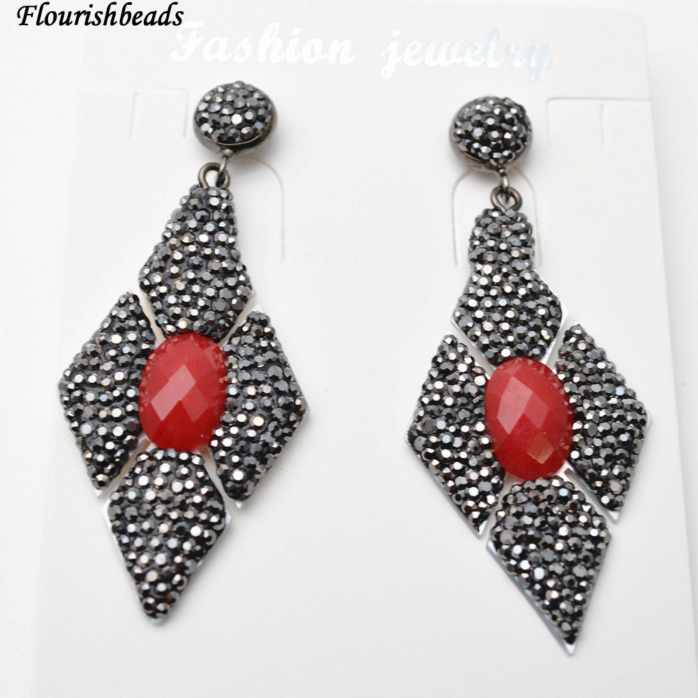 Paved Black Crystal Beads Faceted Red Stone Cab on White Shell Rhombus Shape Dangle Earrings Fashion Party Jewelry Gift