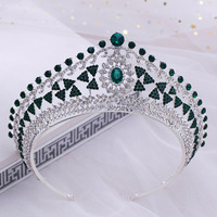 Green Crystal Wedding Tiara Jewelry Bride Rhinestone Princess Crown Bridal Hair Accessories Women Prom Pageant Crowns Headbands