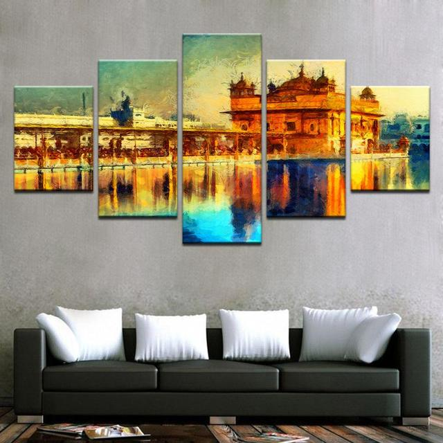 Canvas Wall Art Pictures Framework Home Decor Living Room 5 Pieces Golden  Temple Landscape Abstract Paintings