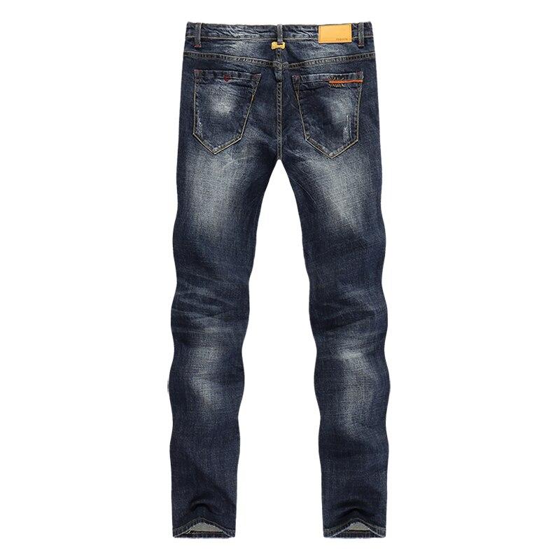 KSTUN Mens Jeans Brand Dark Blue Spring and Autumn Slim Straight Stretch Business Casaul Man Denim Pants Cowboys Plus Size 40 12