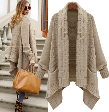 2014 European Brandy Melville Loose Irregular Long Sweater Women Cardigan Oversized  Winter Coat Knitted Casual Ponchcoat WS031,in Cardigans from Women\u0027s