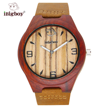 Reloj de Los Hombres Relojes Moda de Las Mujeres De Madera Natural Zebrawood iBigboy Japón Movimiento de Cuarzo Correa de Cuero Luminoso Reloj Para Hombre