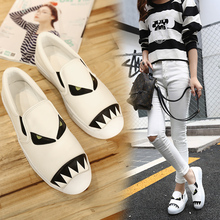 NEW Arrivals 2016 Autumn loafers Shoes Women Round toe Sport Style Casual slip on loafers Women'S Shoes White/Black/Pink