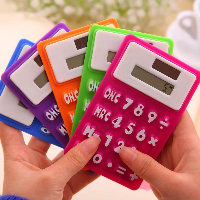 Portable soft keyboard office learning solar energy silica gel mini font b calculator b font