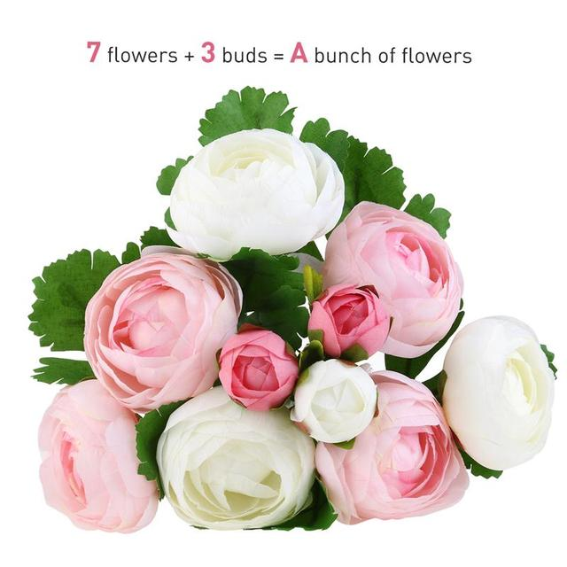 10 heads artificial flower pink and white silk camellia flower for 10 heads artificial flower pink and white silk camellia flower for wedding party home decoration bridal mightylinksfo