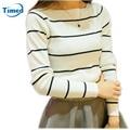 Hot Sale 2016 Newest Girls' Cute Stripe Shirt Sleeve Render Fall Unlined Upper Sweater Women's Charming Collar Sweater