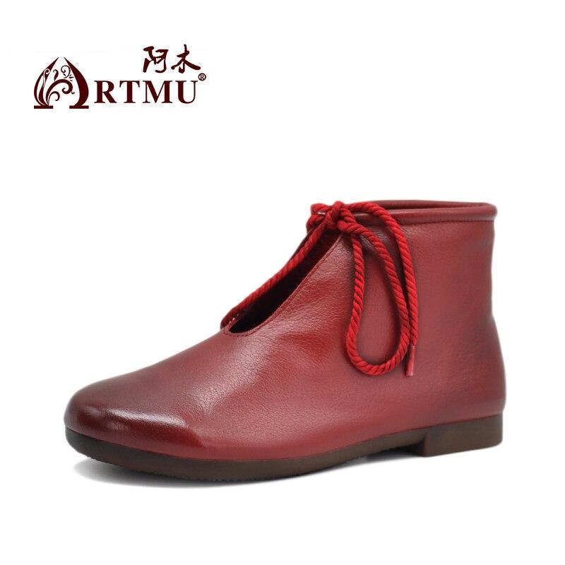 Artmu Original Bow Lace Up Women Boots Handmade Soft Soles Woman Leather Shoes Comfort Dress Boots Woman Boots Designer Autumn