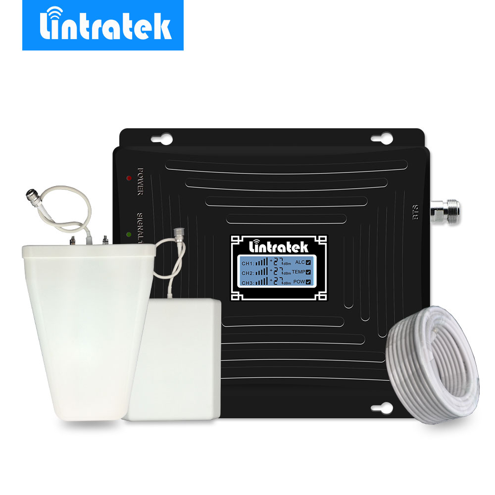 Lintratek 2G 3G 4G répéteur LCD large bande GSM 900 MHz 1800 MHz LTE 2100 MHz UMTS téléphone portable amplificateur de Signal cellulaire amplificateur #35