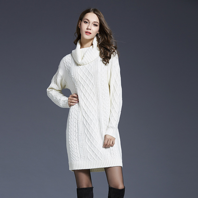 Big Size Winter Women Sweater Dress Turtleneck Knitting Cotton Thick Ladies Dresses 2018 New Fashion Long Sleeve Female Vestidos