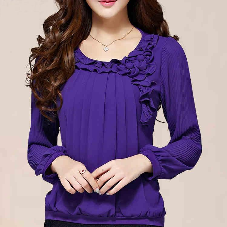 The new 2015 women chiffon shirt collar top brand design flower ...