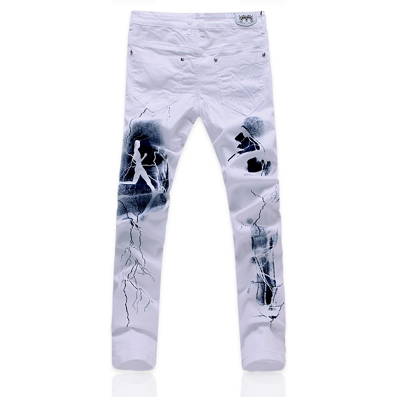2018 Mens White Print Skinny Jeans Slim Fit Straight Distressed Denim Pants Party Hip Hop Fashion Gifts Trouser for Men K35