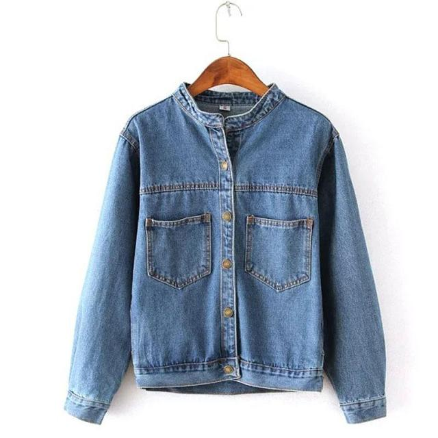 Jean jacket for women fashion pocket design Ruffled Cuff  long sleeve coat female new arrival slim solid denim jackets