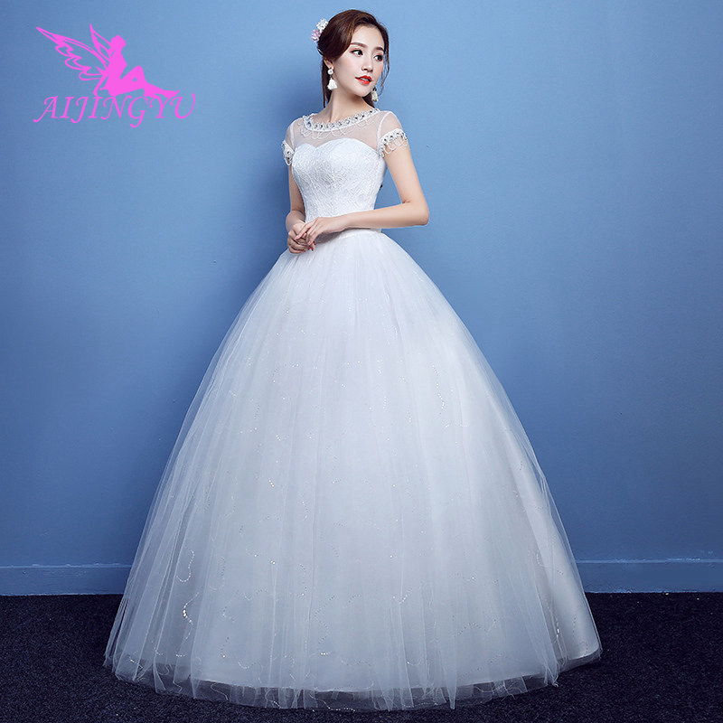 AIJINGYU 2018 Beauty Free Shipping New Hot Selling Cheap Ball Gown Lace Up Back Formal Bride Dresses Wedding Dress FU194