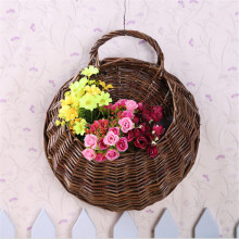 Natural rattan wall hanging basket hanging basket willow rattan basket flower pot simulation of flower plants