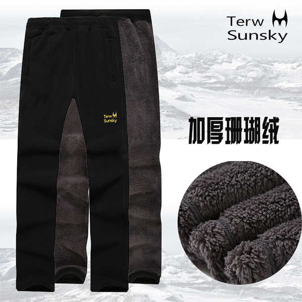 Outdoor 2 layer thickness autumn spring men pants high quality warm fleece trousers sports climbing hiking camping male pants