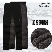 Outdoor 2 Layer Thickness Autumn Spring Men Pants High Quality Warm Fleece Trousers Sports Climbing Hiking