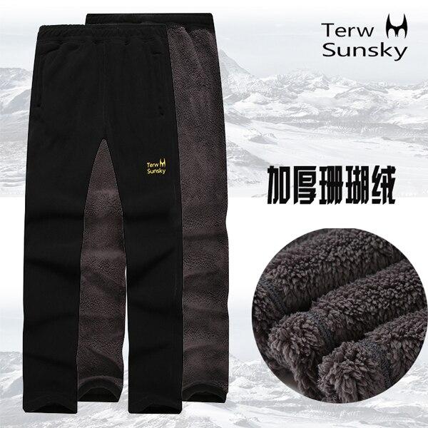 En plein air 2 couche épaisseur automne printemps pantalons pour hommes de haute qualité pantalon en molleton chaud sport escalade randonnée camping mâle pantalon