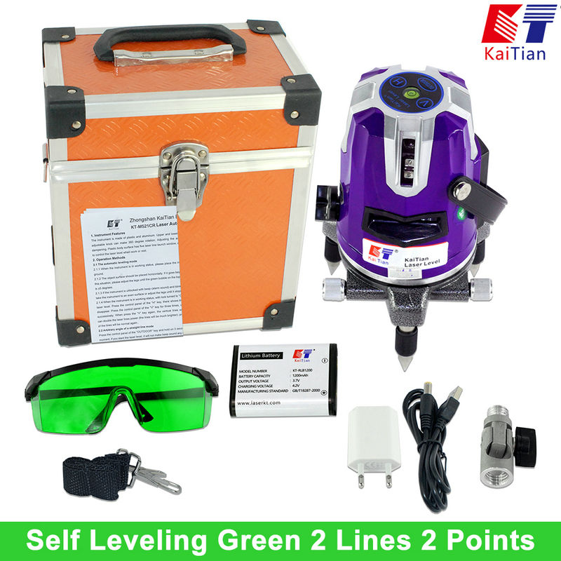 Kaitian 2 Lines Green Laser Level Battery with Slash Function 360 Rotary Self Leveling 532nm EU Cross Level Leveling Outdoor