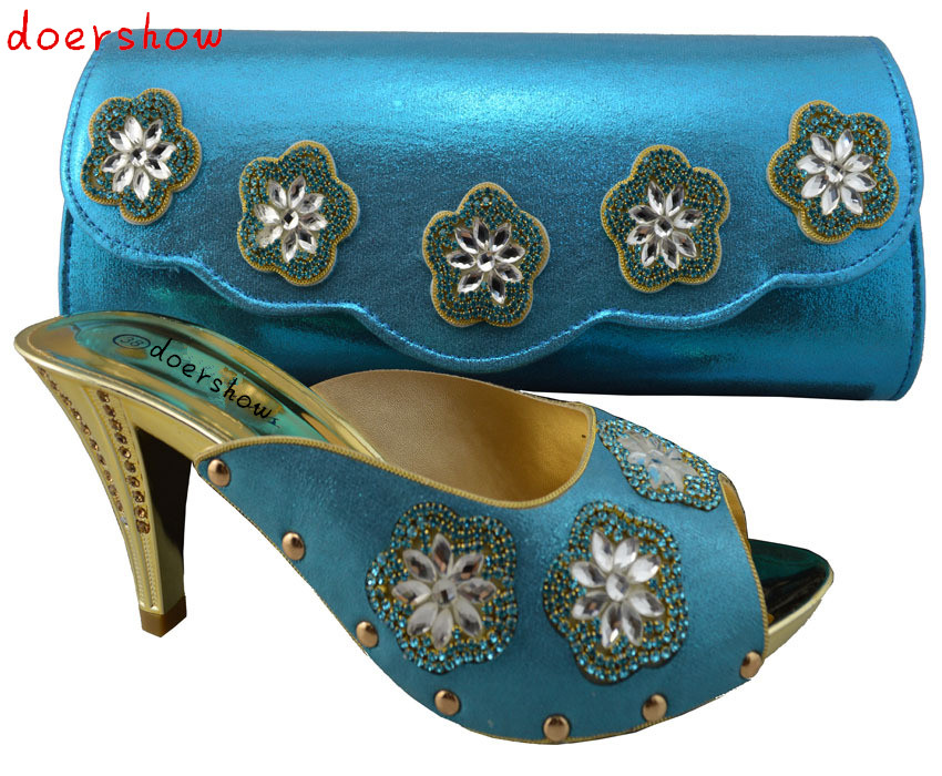 blue fashionable African women shoes and bags set high quality European shoes and matching bags for