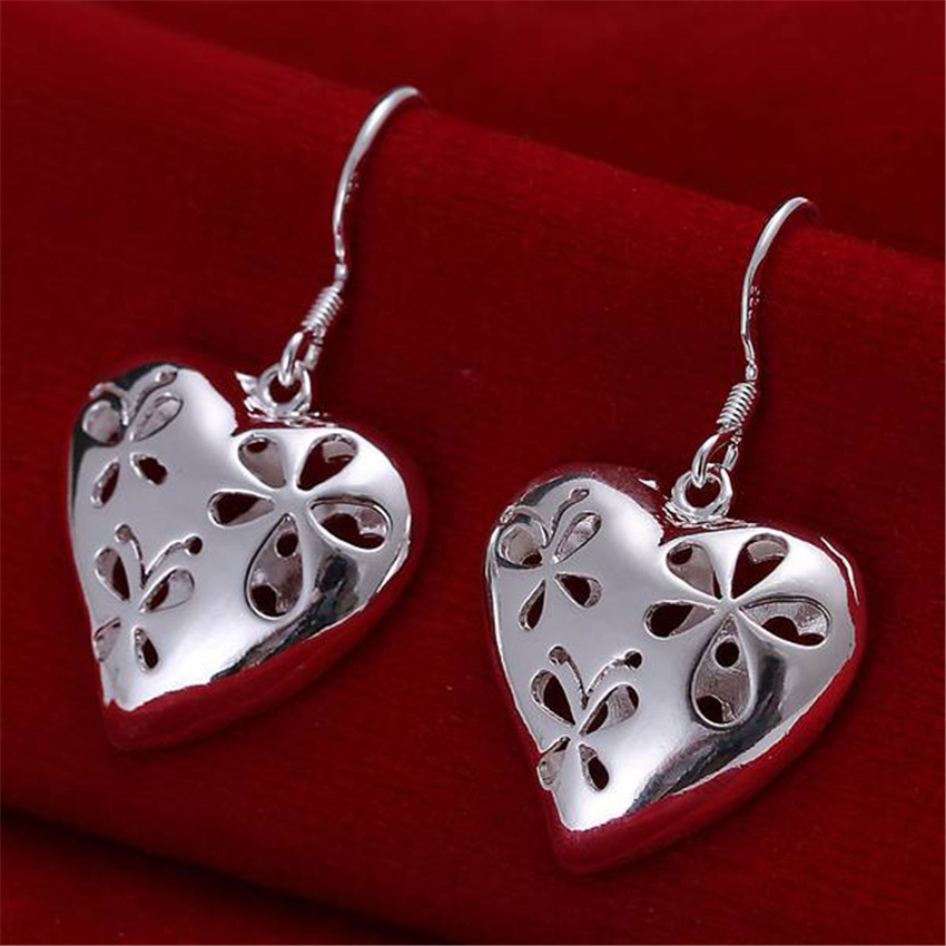 Beautiful women favorite fashion Heart wedding Lovely silver color heart earrings high quality fashion jewelry E217