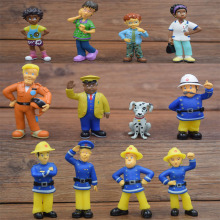 12Pcs/LOT Fireman Sam Action Figure Toy 3-6cm Cute Cartoon PVC Surprise Dolls Toys For Children Christmas Gift DBP517