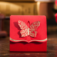 50pcs Red Butterfly Floral Candy Box Wedding Favor And Gifts Bag Paper Box Baby Shower Wedding Decoration Event Party Supplies