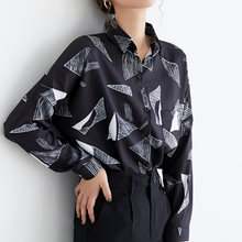 Geometric Print Chiffon Women Blouses Tops Casual Loose Blouse Shirt Female Vintage Shirts blusas mujer Spring 2019(China)