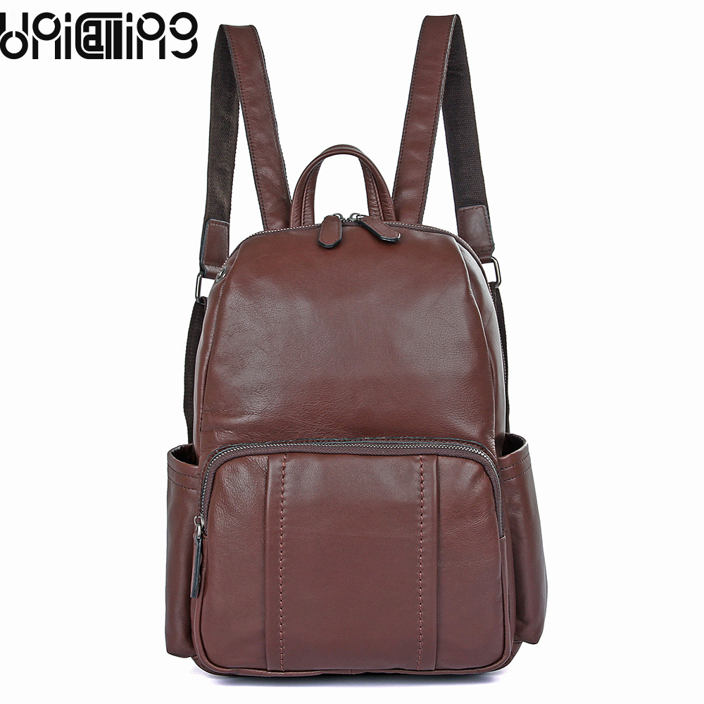Cow Leather women backpack Retro Fashion backpacks for teenage girls Top grade solid color Genuine Leather female backpack стоимость