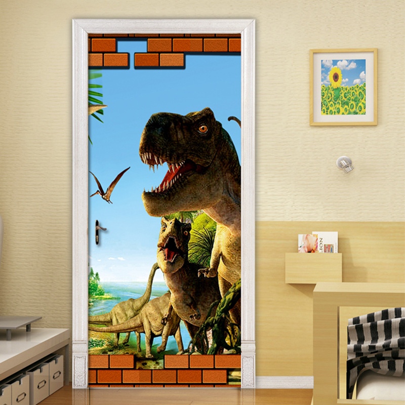 3D Cartoon Dinosaur Animal Wallpaper 3D Mural Wall Stickers Kids Bedroom Door Home Decor PVC Waterproof Vinyl Poster Door Mural 2 sheet pcs 3d door stickers brick wallpaper wall sticker mural poster pvc waterproof decals living room bedroom home decor