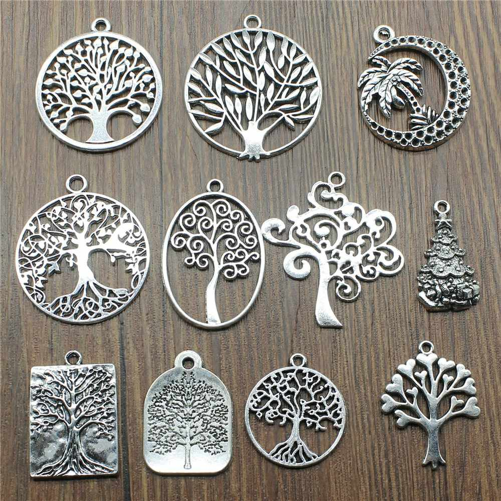 6pcs Charms Tree Vintage Antique Silver Plated Tree Charms Jewelry Accessories Charms Tree Jewelry Findings