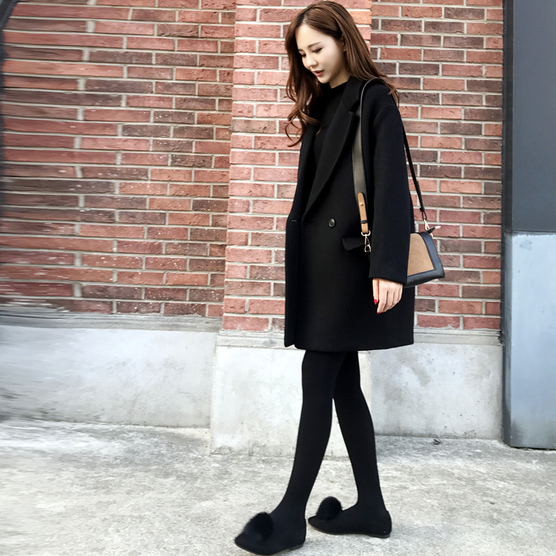 2018 winter new Korean women's loose was thin in the long paragraph wool coat cocoon black woolen jacket 2016 new arrival women s luxury jacket short paragraph korean version nagymaros collar female was thin tide coat mz575 page 4 page 3