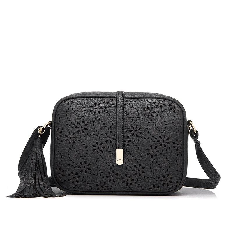 REALER brand new messenger bags women tassel bag floral hollow out design handbag solid vintage small shoulder bag