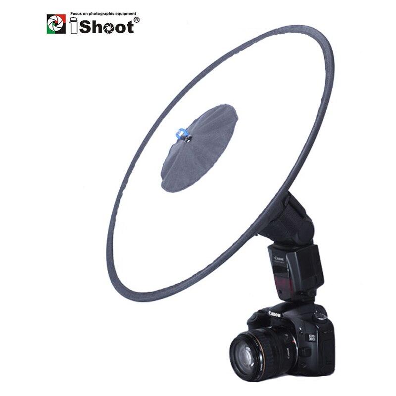 Ishoot universal 44cm fácil-fold redondo flash softbox difusor refletor para canon nikon sony metz speedlite adequado para macro sh