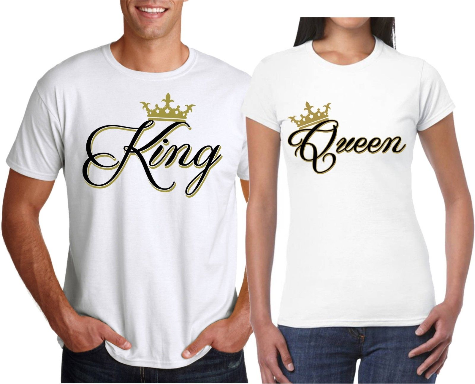 2019 Hot Sale 100% cotton King OR Queen NEW VALENTINES N Christmas Couple matching funny cute T Shirts Tee shirt