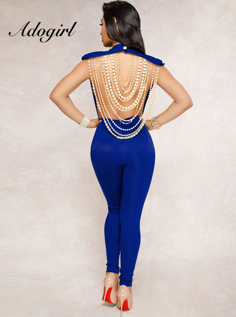 5162755e2530 Adogirl 2018 Stylish Beaded Chain Rompers Womens Jumpsuit Sexy Backless  Sleeveless Bodycon Overalls Club Party Female Jumpsuits