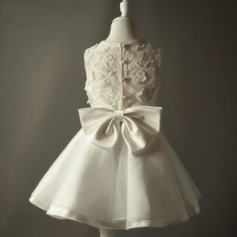 Flower Girl Dresses För Bröllop Ivory Vintage Kids Födelsedagssida - Bröllopsfestklänningar - Foto 4