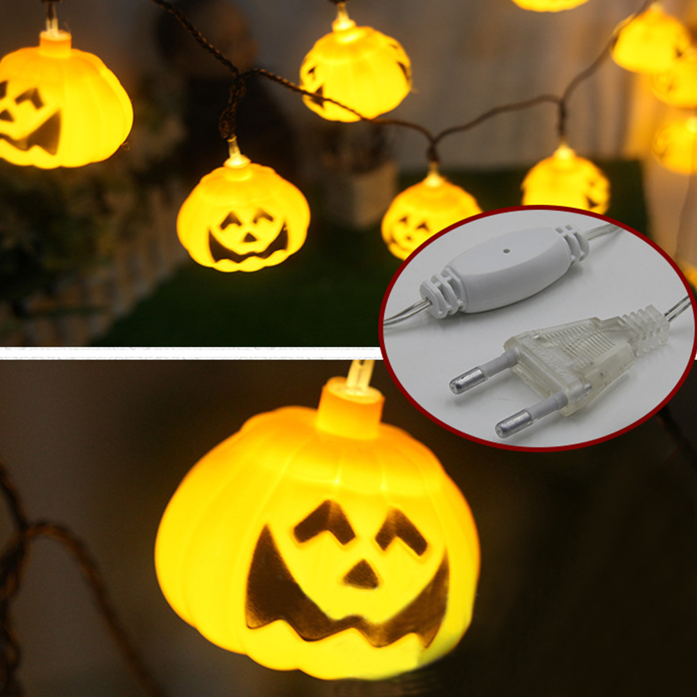 5M 20pcs Pumpkin Halloween String Lights yellow color solar power Props Decorations Supplies Home Party Decor