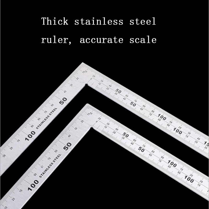 90 degree thick square ruler 300/500mm stainless steel corner ruler L type right angle woodworking turn ruler square