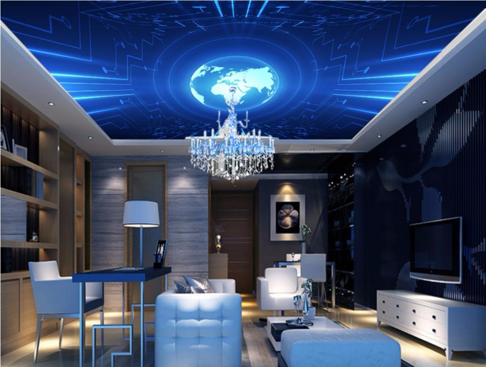 Customized Sky Ceiling Wallpaper Cosmic planet 3d Photo Wall papers Home Decor For Lliving Room Ceiling 3d Background Wallpaper print bar кайло рен