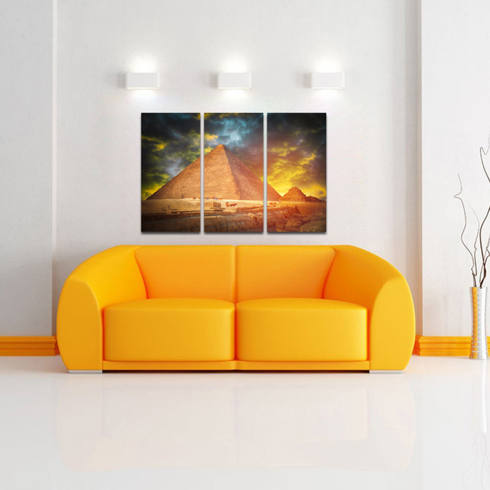 HD Printed Egypt Landscape Wall Art Digital Prints 3 Piece Sunset ...