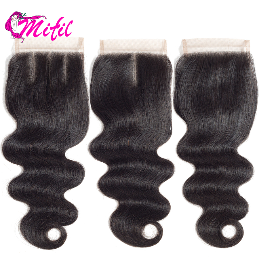Mifil 4X4 Closure Brazilian Body Wave Lace Closure Non Remy Human Hair Closure With Baby Hair Afro Hairpiece(China)