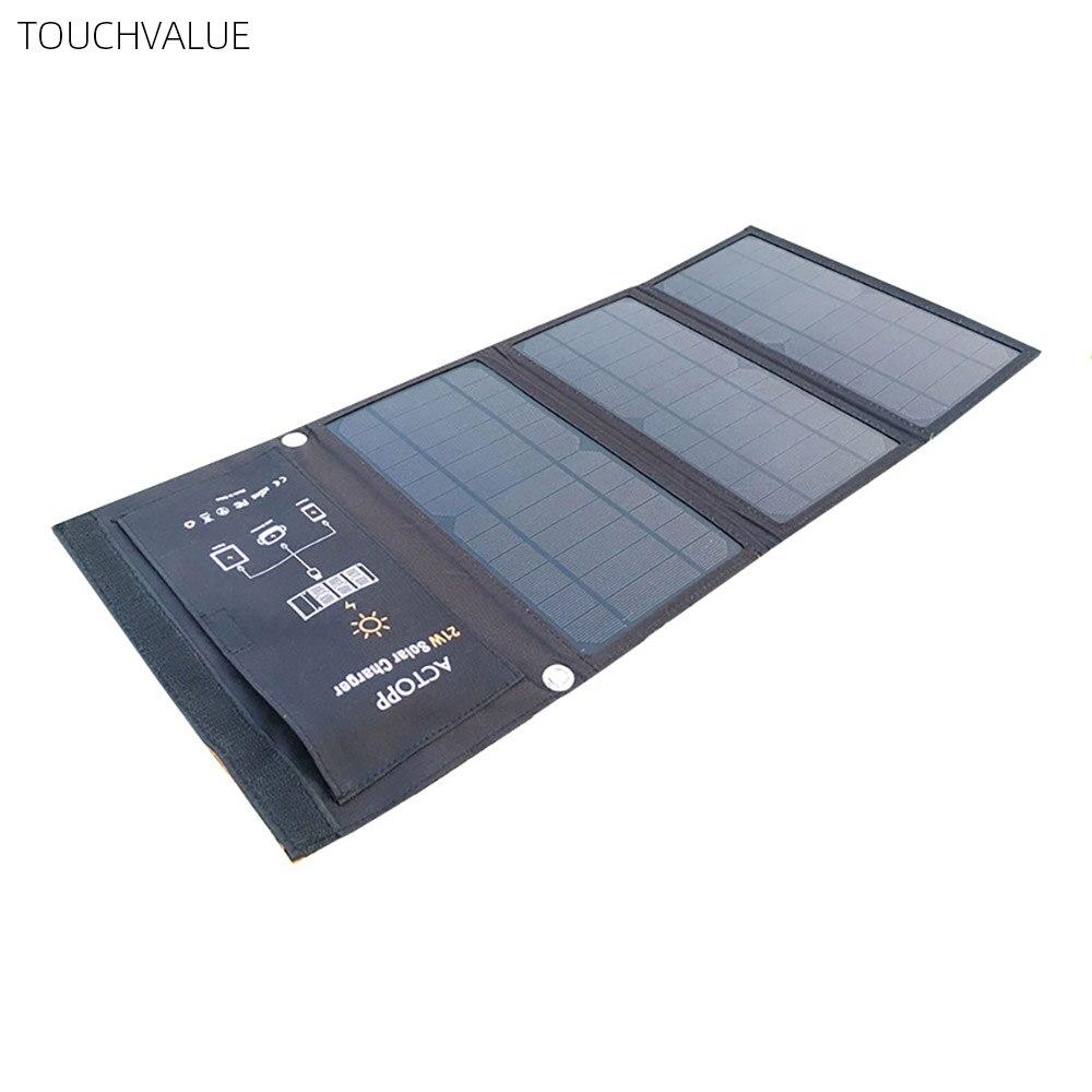 Chargeur solaire extérieur double USB chargeur solaire Portable monocristallin solaire sac de charge pliant 21 W pour tablettes de téléphone Portable