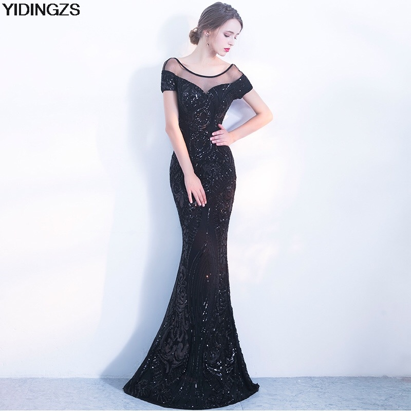 YIDINGZS Elegant Backless Long Evening Dress Mermaid Black Party Sequins Maxi Dress pleated halter hollow out backless maxi dress
