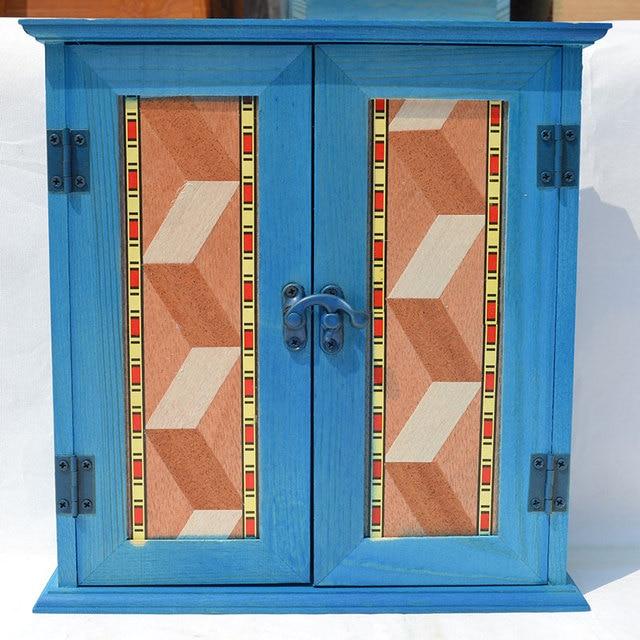 Mediterranean Solid Wood Furniture American Retro Wall Key Cabinet Power  Distribution Block The Entrance Decorative Storage