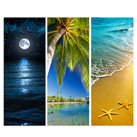 2pcs Set Door Stickers Sea View DIY Living Room Doors Decorative Posters 3D Waterproof Art Wallpaper