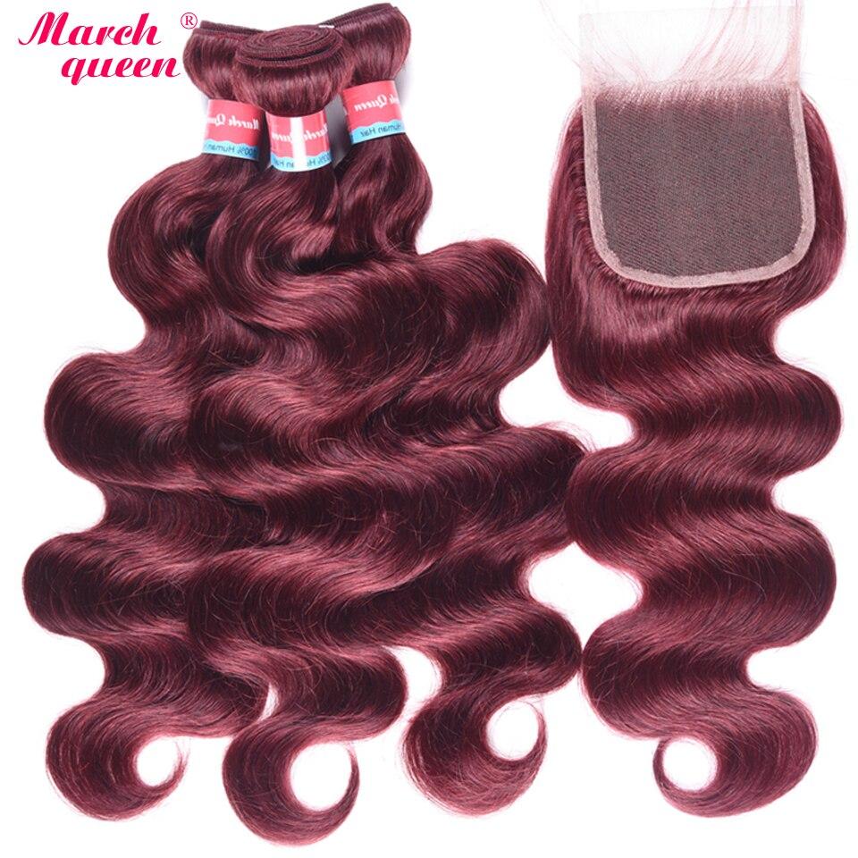 REINA DE MARZO # 99J cabello humano peruano con cierre 3 paquetes de extensiones de cabello virgen onda del cuerpo con cierre de encaje rojo vino de Color-in Paquetes con cierre 3 / 4 from Extensiones de cabello y pelucas on AliExpress - 11.11_Double 11_Singles' Day 1