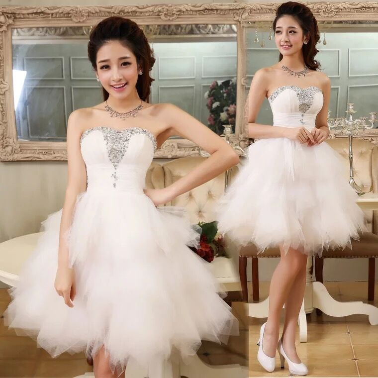 Ball Gown Short   Cocktail     Dresses   2019 Party   Dress   vestido de noiva Prom Party Gowns Homecoming   Dress   With Beads Bridal   Dress