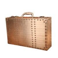 Дерево ретро чемодан одежду ящик для хранения Алюминий кожаные украшения дома Винтаж бар Подставки для фотографий окна Дисплей
