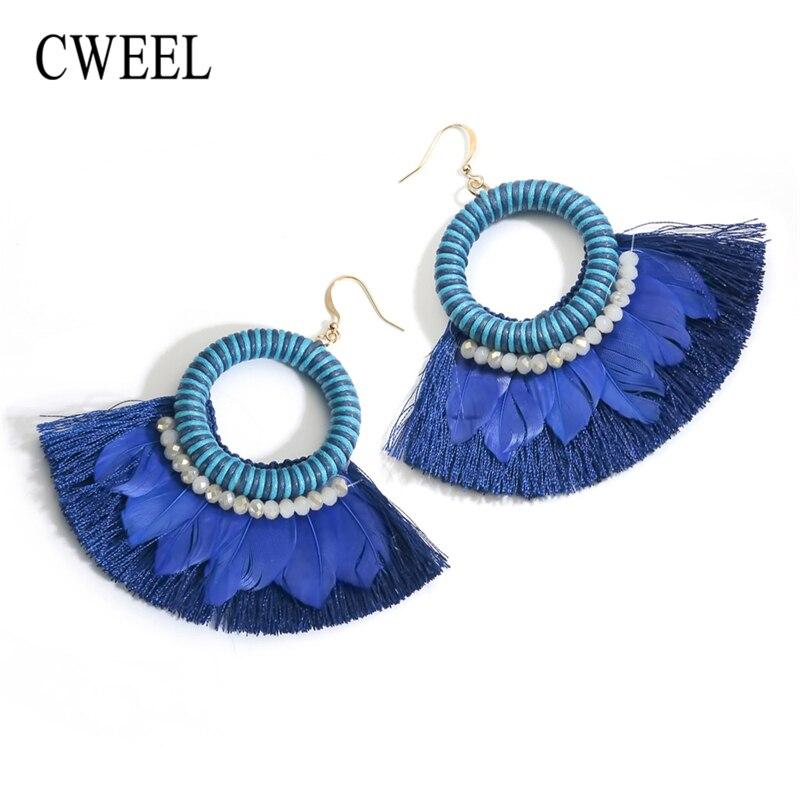 CWEEL Long Feather Tassel Earrings for Women Brincos Earings Fashion Jewelry Boho Bohemian Vintage Statement Flower Drop Earring