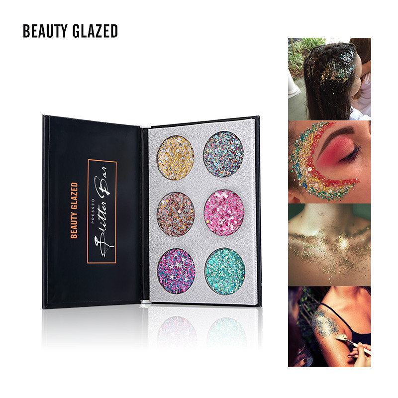 6 Color Glitter Makeup Eyeshadow Palette Children Stage Festival Party Makeup Shimmer Sequins Glitter Eye Shadow Palette Tslm1 Beauty & Health